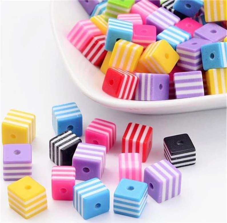 Bulk Beads Wholesale Beads Striped Beads Cube Beads Acrylic Beads Large Lot 1000pcs 8mm Beads PREORDER