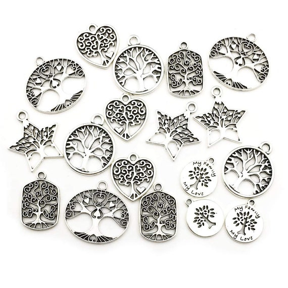 Tree of Life Charms Tree Pendants Assorted Charms Set BULK Charms Antiqued Silver Antiqued Bronze Tree Charms Gold Tree Pendants Patina 30pc