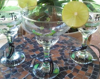 Reserved for Leah custom order personalized margarita glass.