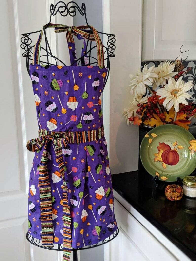 Halloween Modern Retro Apron Gift Apron Holiday Gift Shower Gift Kitchen Apron Custom Apron Handmade