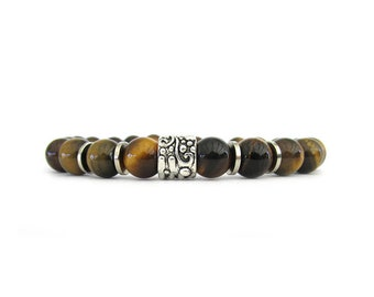 Tiger Eye Men's Bracelet - Men's Jewelry - Bracelets for Men - Gemstone Bracelets - Brown Bracelet - Beaded Stretch Bracelet - M0028