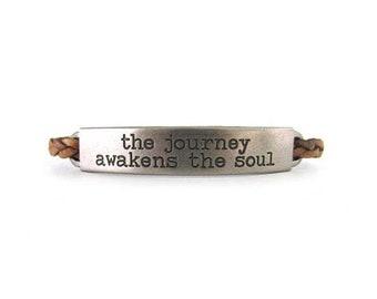 Inspirational Leather Bracelet - Leather Jewelry - Inspirational Jewelry - Motivational Jewelry - Quote Bracelet - Boho Bracelet - UL112BRN
