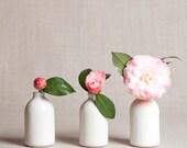 READY TO SHIP : White Minimalist Bud Vases // Set of Three