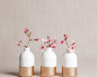 READY TO SHIP : White + Gold Minimalist Bud Vases // Set of Three