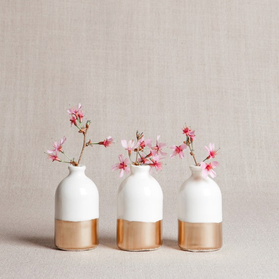 Ready To Ship White Gold Minimalist Bud Vases Set Of Etsy