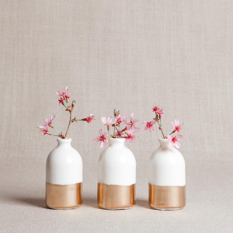 READY TO SHIP : White  Gold Minimalist Bud Vases // Set of image 0
