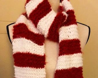 DIGITAL Ruffled Scarf Crochet PDF pattern for Candy Cane Ruffles Scarf