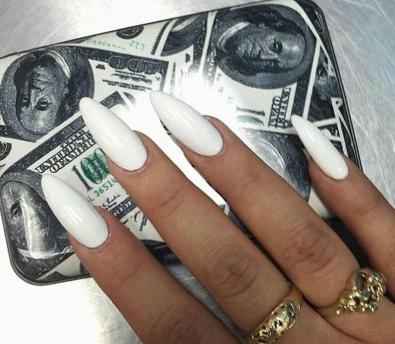 Matte or Glossy White Fake Press On Nails Stiletto Oval | Etsy