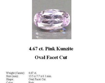 KUNZITE - A Nice Little 4.67 Carat Light Pink Kunzite GemStone in a Faceted Long Oval Cut - The Palest of Pink...