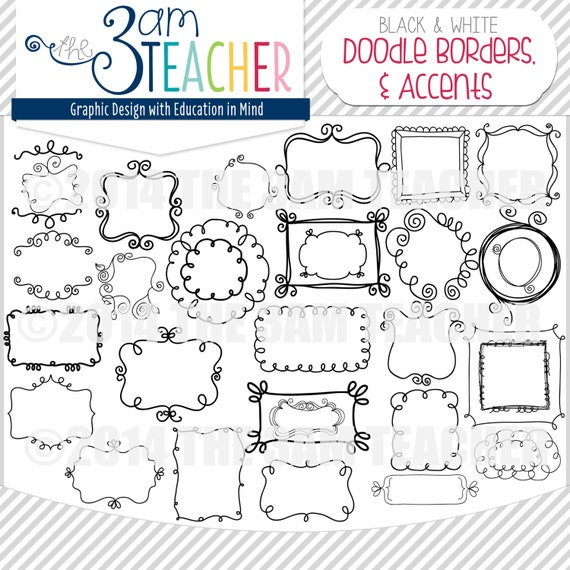 Dulce Doodle Marcos bordes y acentos: MEGA PACK | Etsy