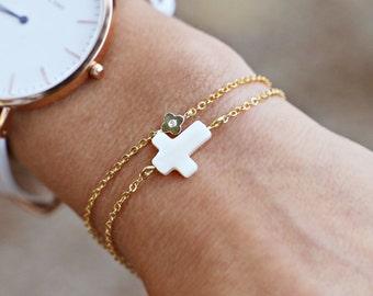 Mother of Pearl Horizontal Cross Bracelet