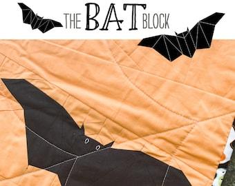 The Bat Block- Paper Pieced Quilt Block Pattern, PDF, Instant Download, modern patchwork, black halloween animal bat spooky
