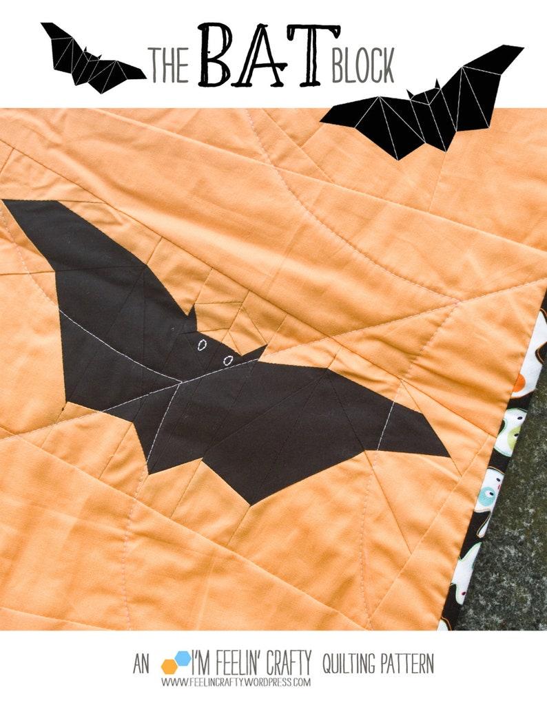 The Bat Block Paper Pieced Quilt Block Pattern PDF Instant image 0