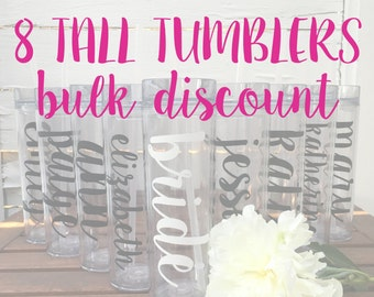 8 Tall Tumblers BULK DISCOUNT: Personalized Bridal Party Tumblers, Bachelorette Bottles, Bride Tribe, Team Bride, Personalized Water Bottle