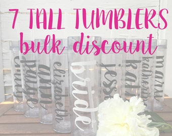 7 Tall Tumblers BULK DISCOUNT: Personalized Bridal Party Tumblers, Bachelorette Bottles, Bride Tribe, Team Bride, Personalized Water Bottle