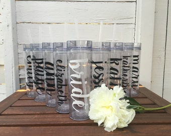 Personalized Tall Bridesmaid Tumblers, Bachelorette Cups, Bridesmaid Cups, Bride Tribe, Team Bride, Bachelorette, Personalized Water Bottle