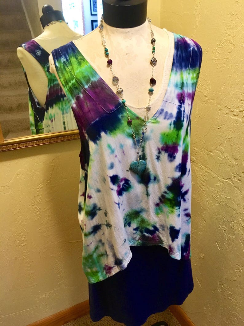 High Low Rayon Top Green Tie Dye Top Boho Top GreenPurpleWhite Rayon Top Tie Dye Top V-Neck Top Hippie Clothing