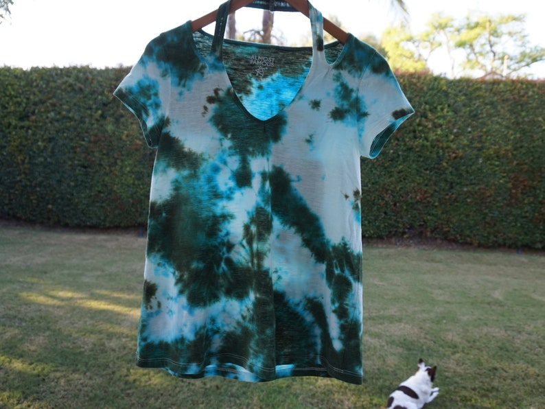 585c8cd9cfd SALE Tie Dye T-Shirt V-Neck Blue and Green and White One of