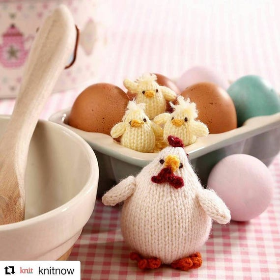 Mother Hen And Three Little Chicks Knitting Pattern Pdf Etsy