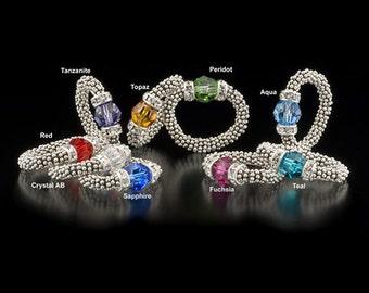 Sterling Silver Stretch Ring-Swarovski Crystal