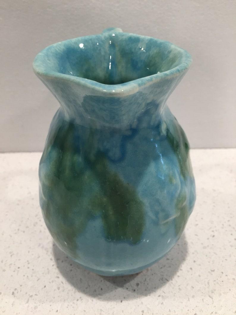 FREE US SHIPPING  Hot Springs Pottery Arkansas Pitcher Arts and Crafts Era Art Deco Aqua Green Drip Glaze Studio Pottery 1930s 1940s