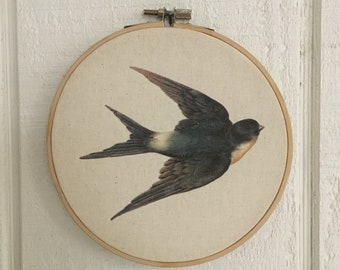 Bird Hoop Art Vintage Swallow Bird wall decor free shipping 3 sizes available white or natural canvas fabric FREE SHIPPING