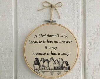 Vintage Bird Hoop Art Embroidery/hoop art wall decor/vintage bird decor/shabby chic decor/bird quotes/bird lover/birds on wire