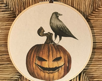 Halloween Fall Decor Raven Crow Pumpkin Watercolor painting printed on canvas 8 inch embroidery hoop