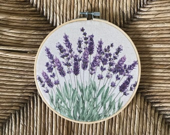 Lavender Floral Botanical Hoop Art Wall hanging Natural or White Canvas 6 or 8 inch available