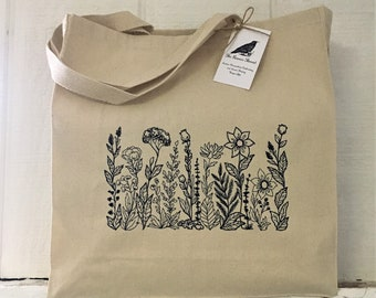 Wildflowers Canvas Tote Marketbag Tote bag Purse Embroidery