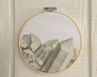 Quartz Crystals Illustration Hoop Art FREE SHIPPING