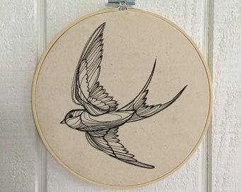 Swallow Embroidery Hoop Art Bird Decor Bird Lover FREE SHIPPING