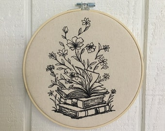 Book Decor Botanical Embroidery Wall Hoop 8 INCH Book Lover Floral flowers wildflowers Choice of Fabric and Thread Color Available 8 in hoop