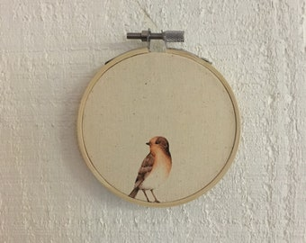 Bird Watercolor Hoop Art vintage decor shabby chic 3 sizes available