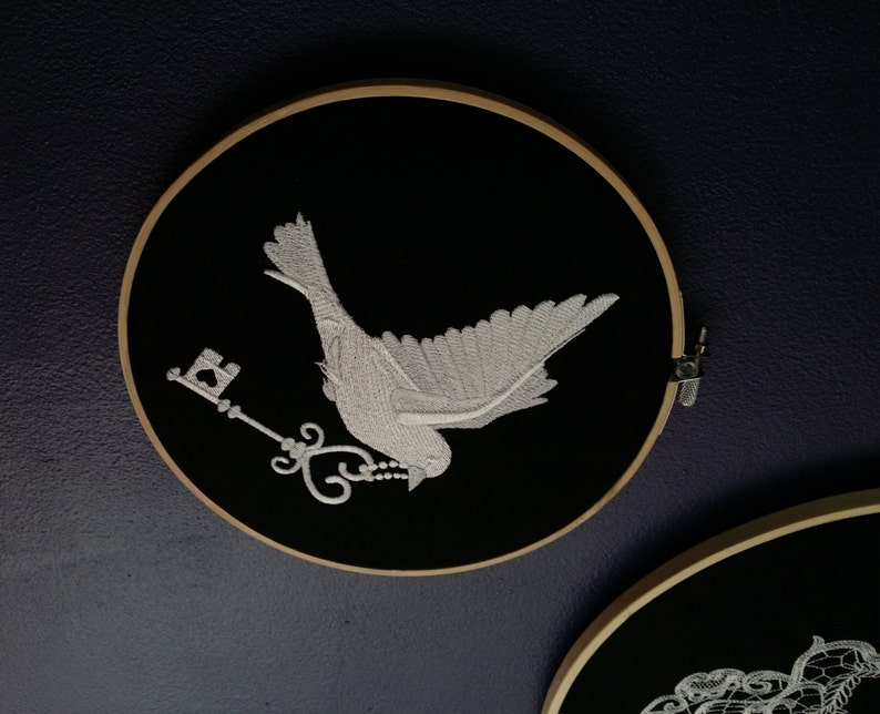 HOOP ART Bird With Key Embroidery Hoop Choose Any Color image 0