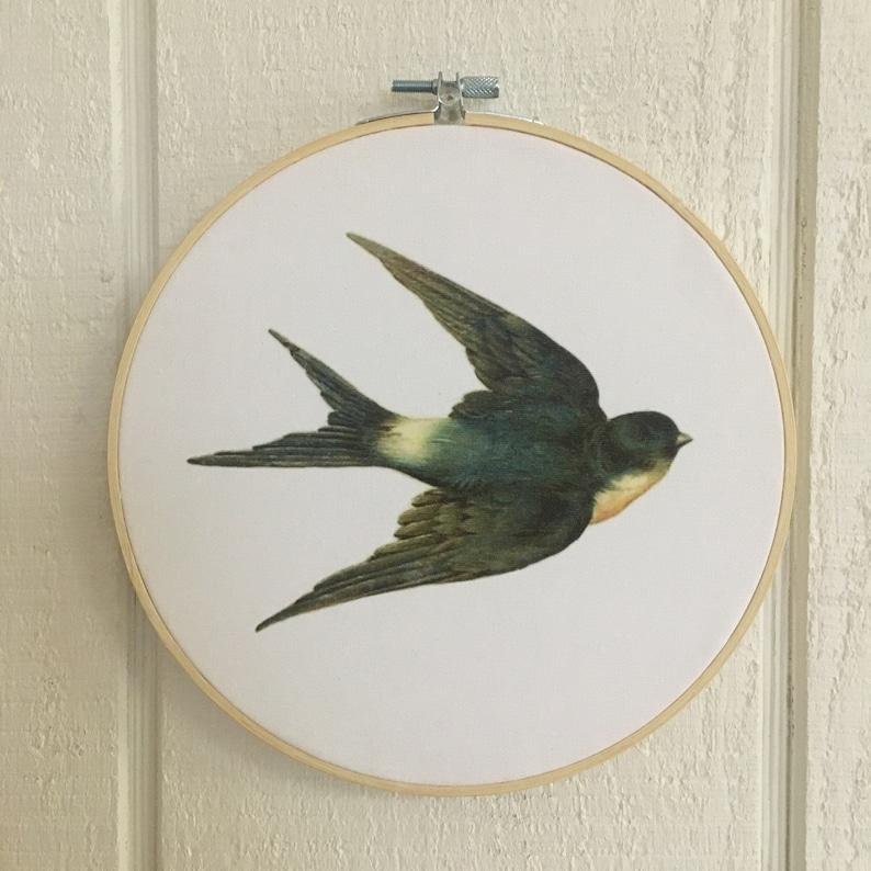 Mothers Day Gift Bird Hoop Art Vintage Swallow Bird wall decor image 0