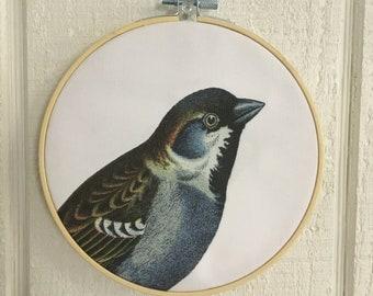 Blue Bird Hoop Art embroidery wall decor bird wall art