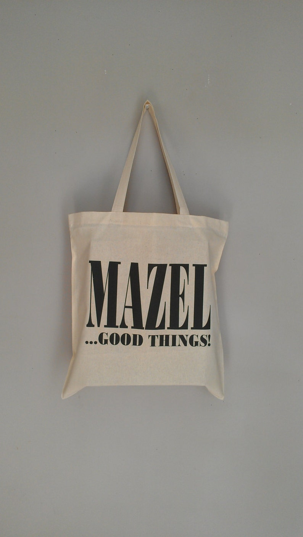 Mazel Good Things Tote Bag Hanukkah Chanukah Jewish Yiddish image 0