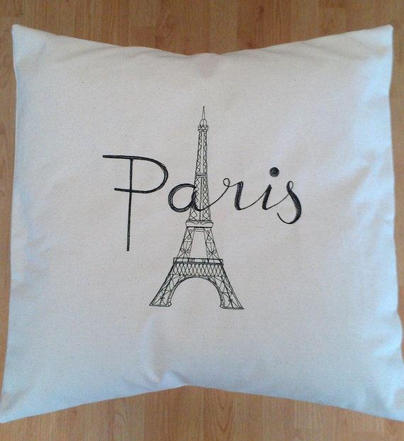 Paris Eiffel Tower Pillow 16 X 16: Paris Eiffel Tower Pillow 16x16 Embroidery Cotton Canvas