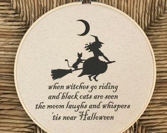 Halloween Decor Sign Witch Poem Embroidery Hoop Fall Decoration FREE SHIPPING