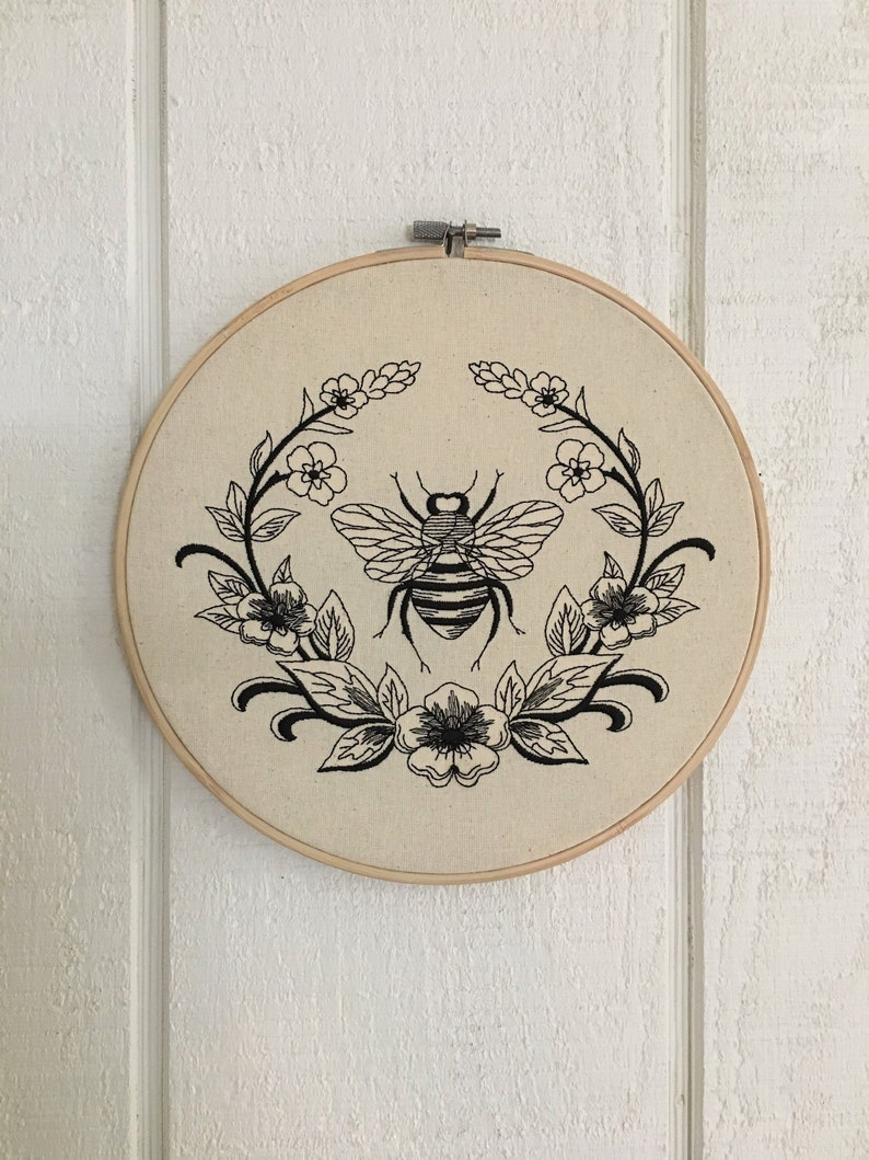 Mothers Day Gift Hoop Art Vintage Bee Floral Embroidery Wooden image 0