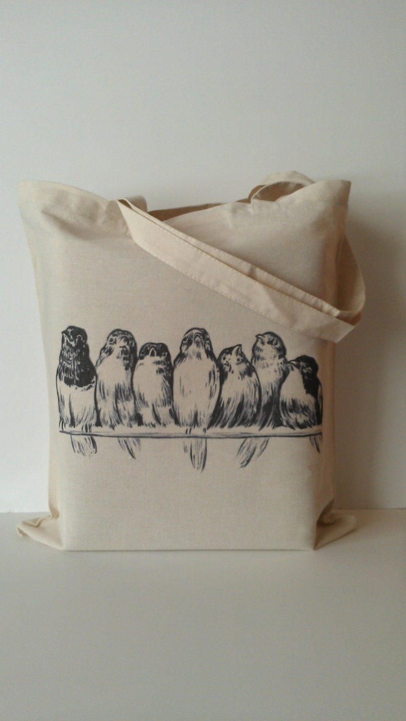 Vintage Birds on Wire Tote Bag Eco friendly image 0