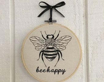 Hoop Art Bee Embroidery cottage farmhouse decor FREE SHIPPING