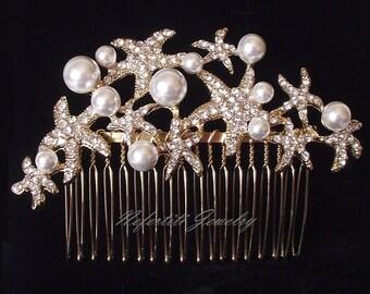 gold wedding hair comb starfish bridal hair comb gold wedding hair piece beach wedding hair accessories starfish pearl hair comb