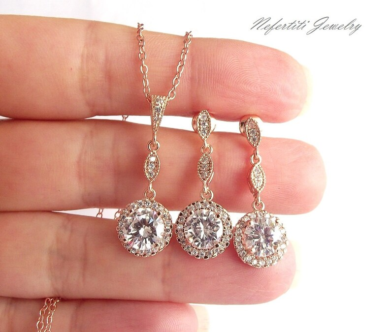 wedding jewelry set cubic zirconia necklace and earrings rose gold wedding jewelry rose gold bridal jewelry Rose gold bridesmaid jewelry