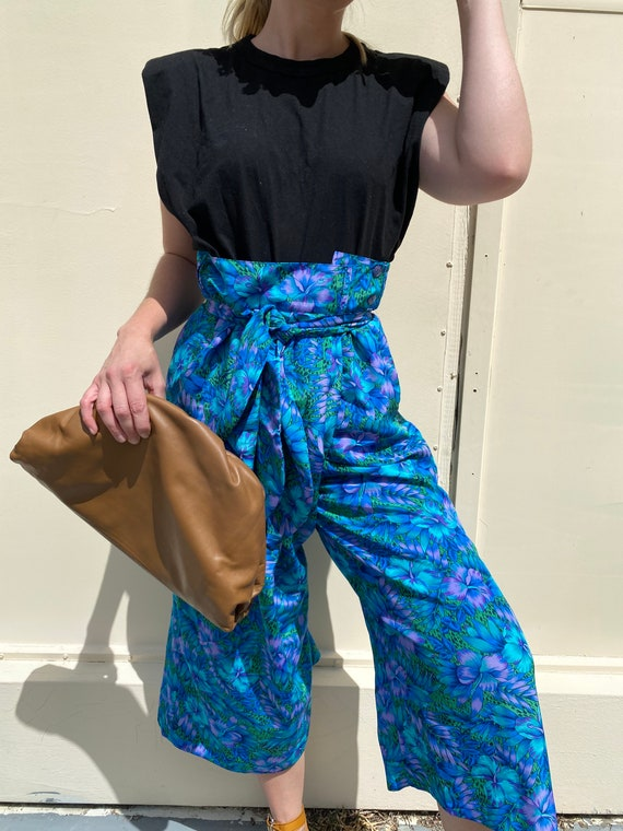 1970s Paperbag Waist Tropical Print Trousers - image 1