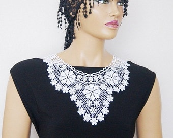 FREE SHIPPING Lux Special White Lace Applique Collar, Bridesmaid Accessories,bridal statement ,OOAK, Graduation accessories
