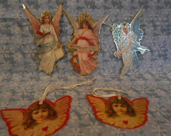 Vintage  Christmas Heavy Paper Ornaments/Gift Tags - Angels