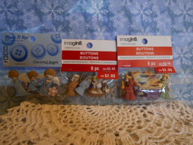 Nativity Scene Wise Men Angels Buttons Three Packs