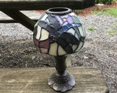 Vintage Partylite Tiffany Style Dragonfly Stained Glass Shade Tea Light Candle Burner